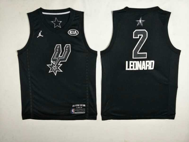 Spurs 2 Kawhi Leonard Black 2018 All-Star Game Jordan Brand Authentic Jersey