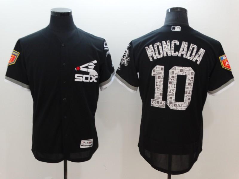 White Sox 10 Yoan Moncada Black 2018 Spring Training Flexbase Jersey