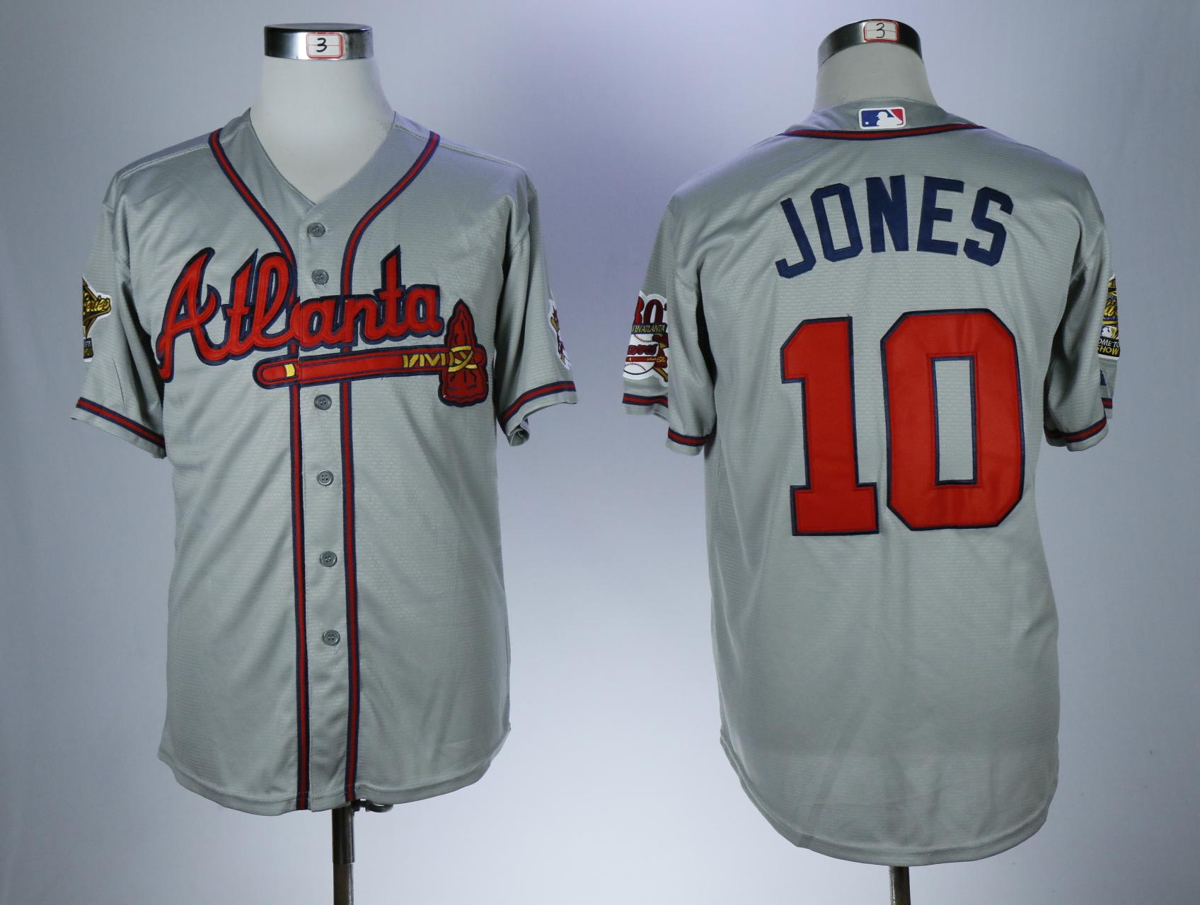 Braves 10 Chipper Jones Gray With 30 Season In Atlanta Patch Cool Base Jersey