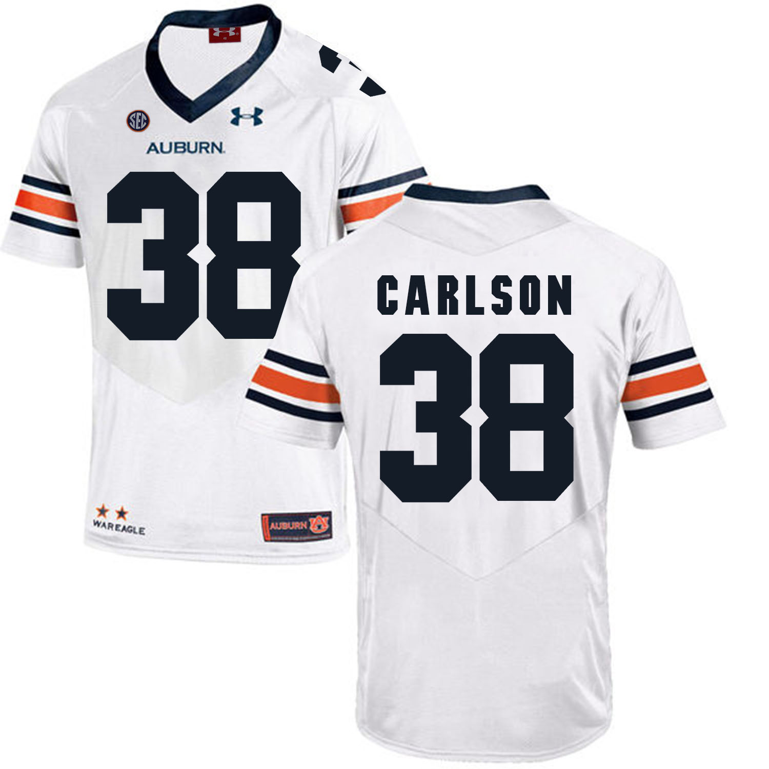 Auburn Tigers 38 Daniel Carlson White College Football Jersey