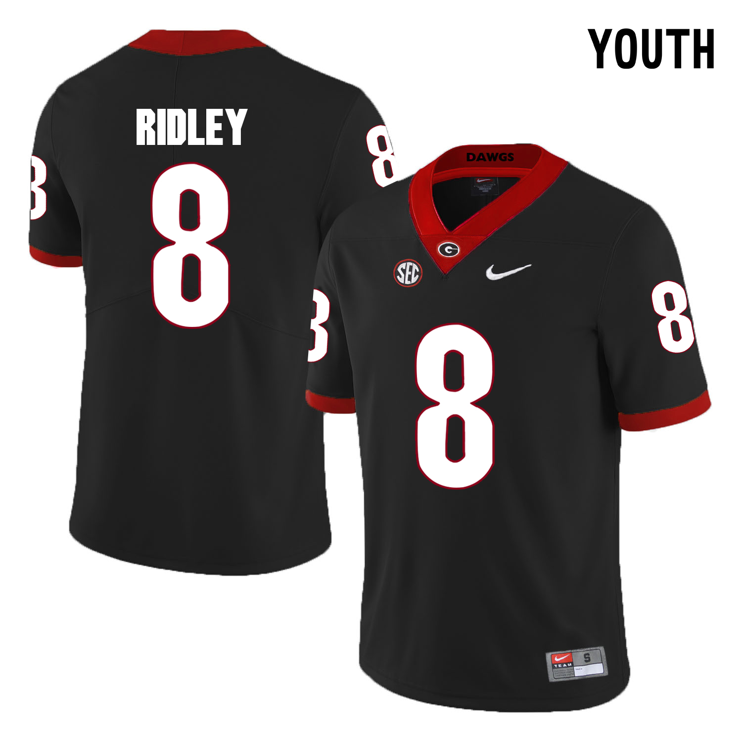 Georgia Bulldogs 8 Riley Ridley Black Youth College Football Jersey