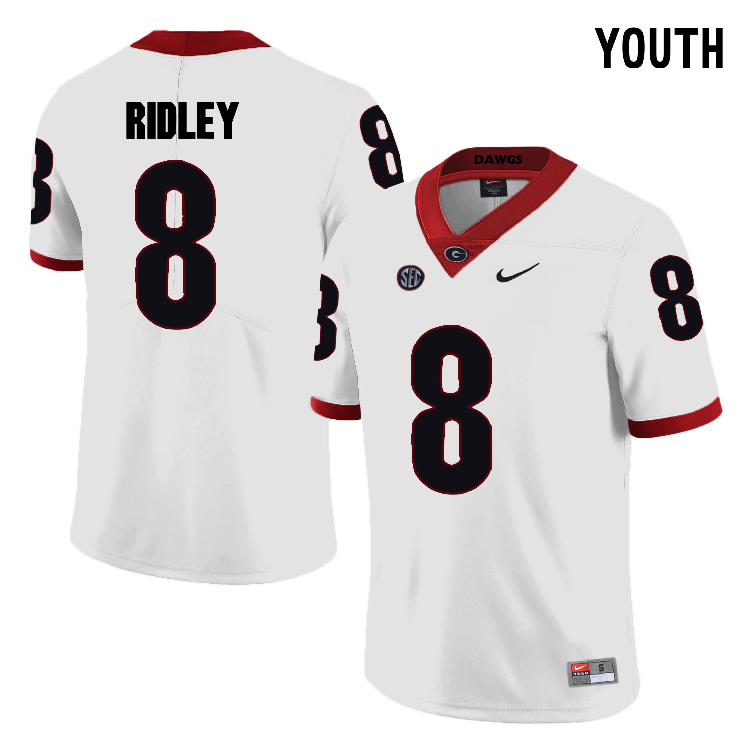 Georgia Bulldogs 8 Riley Ridley White Youth College Football Jersey