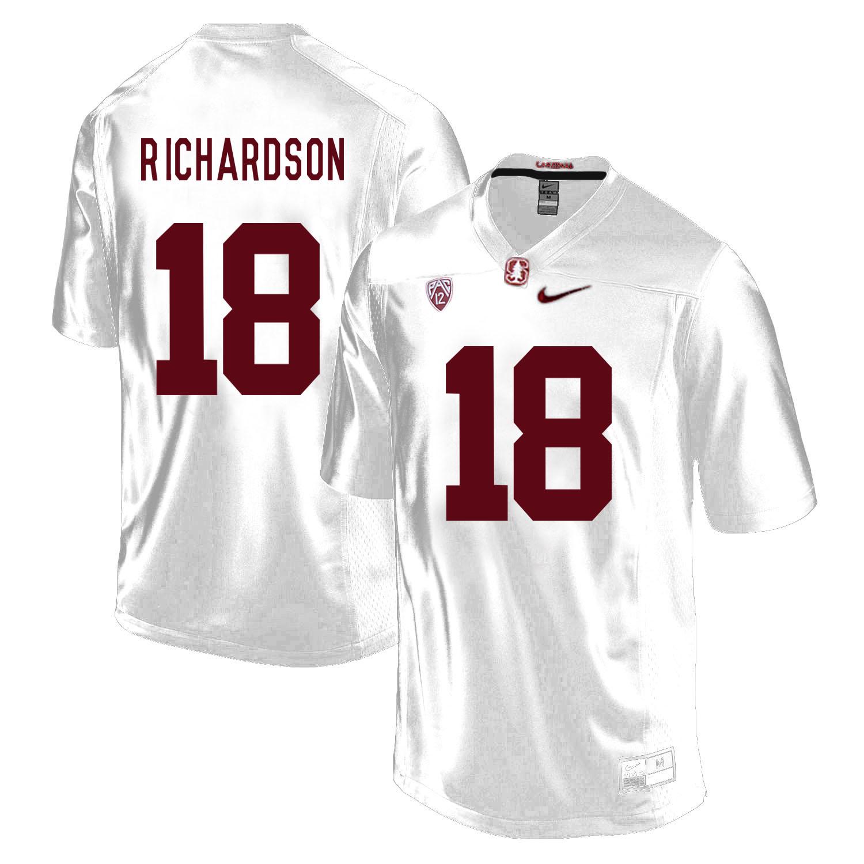 Stanford Cardinal 18 Jack Richardson White College Football Jersey