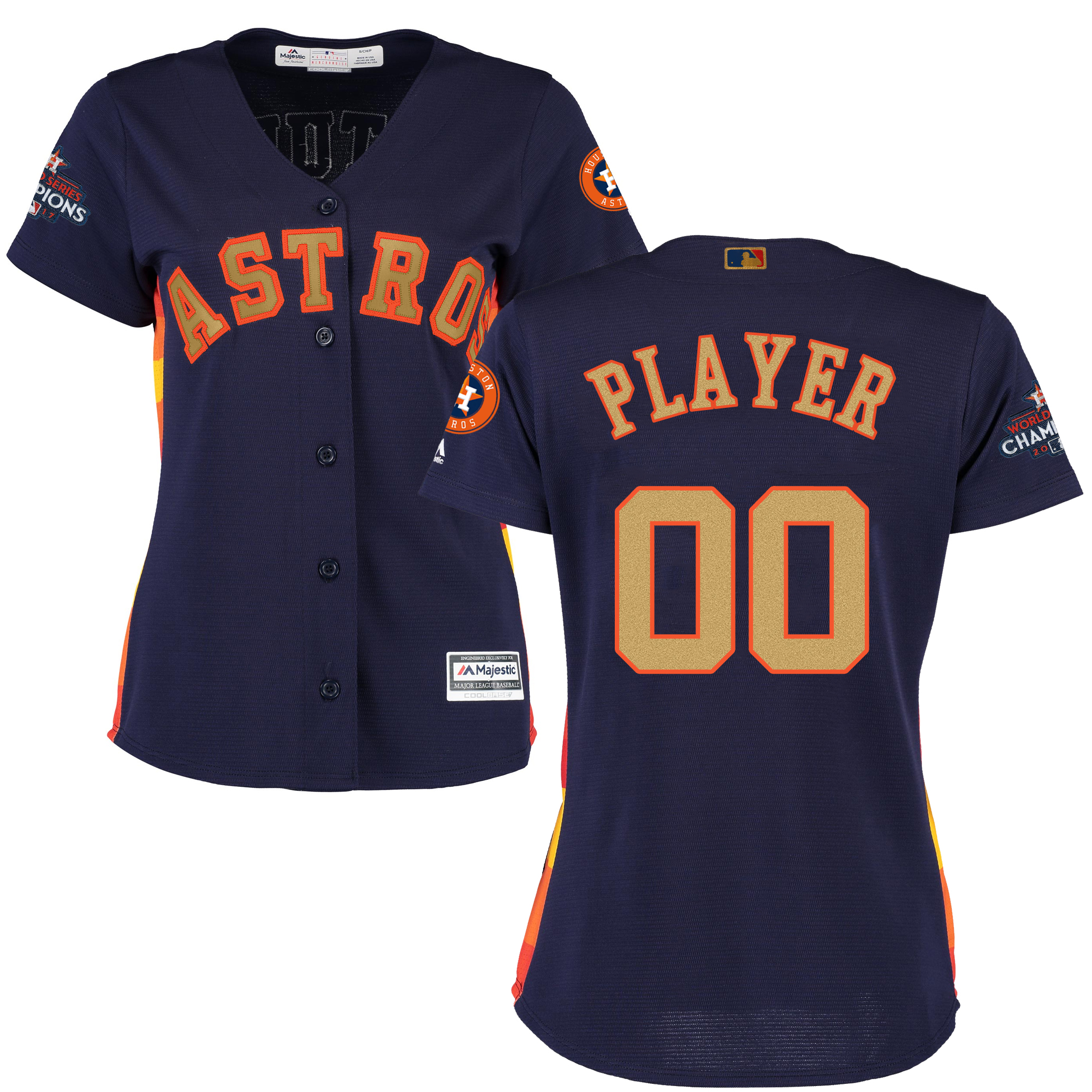 Houston Astros Navy 2018 Gold Program Women's Customized Cool Base Jersey