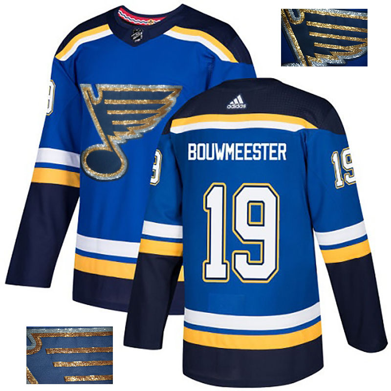 Blues 19 Jay Bouwmeester Blue Glittery Edition Adidas Jersey