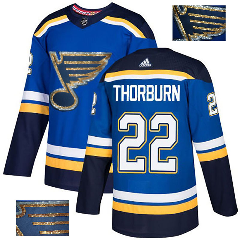 Blues 22 Chris Thorburn Blue Glittery Edition Adidas Jersey