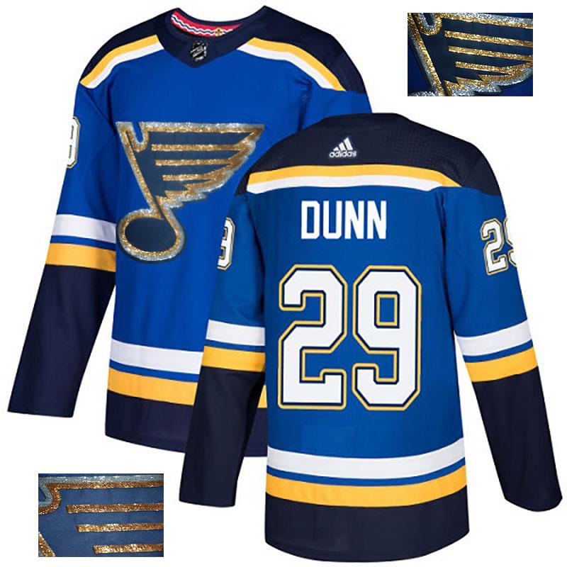 Blues 29 Vince Dunn Blue Glittery Edition Adidas Jersey