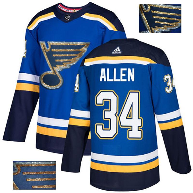 Blues 34 Jake Allen Blue Glittery Edition Adidas Jersey
