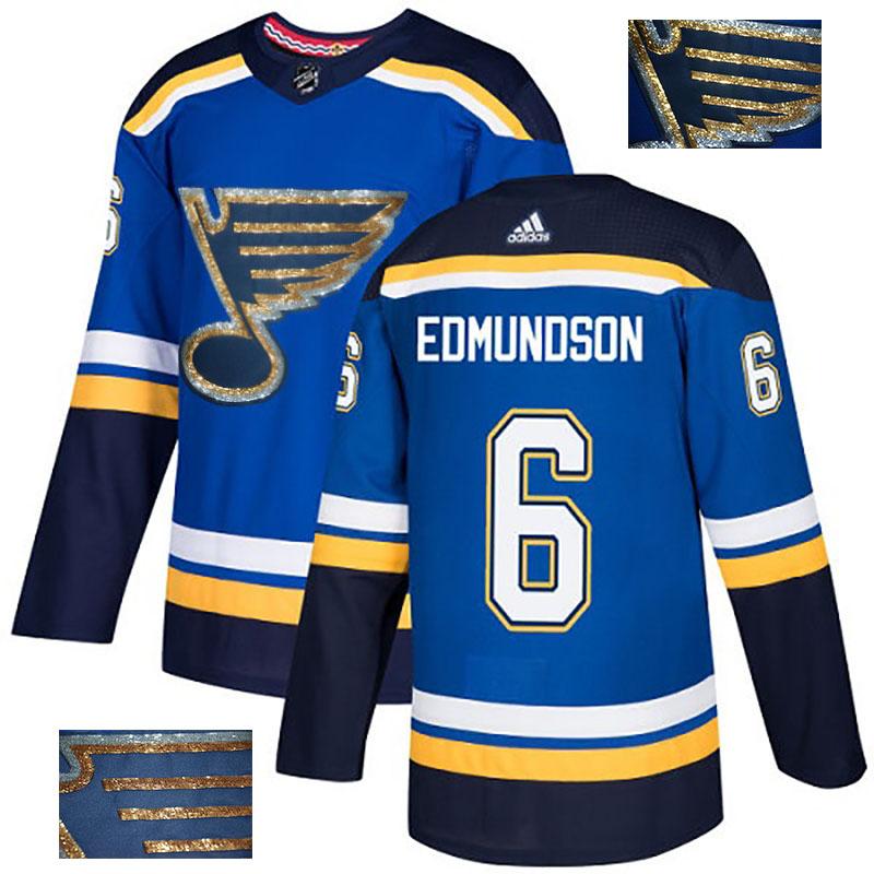 Blues 6 Joel Edmundson Blue Glittery Edition Adidas Jersey
