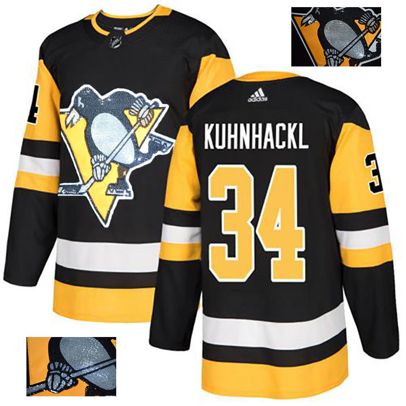 Penguins 34 Tom Kuhnhackl Black Glittery Edition Adidas Jersey