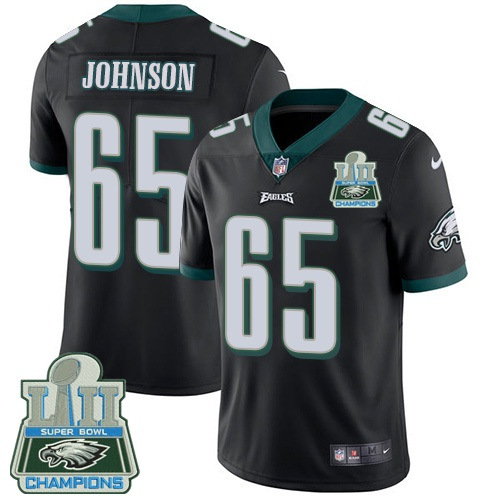 Nike Eagles 65 Lane Johnson Black 2018 Super Bowl LII Champions Youth Vapor Untouchable Player Limited Jersey