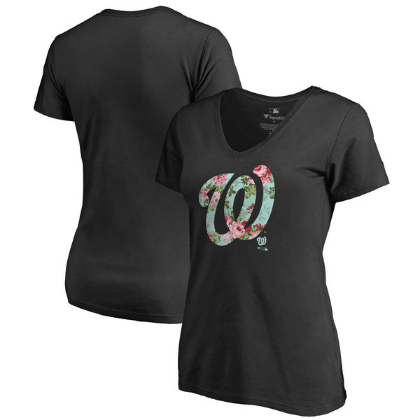 Washington Nationals Fanatics Branded Women's Lovely Plus Size V Neck T-Shirt Black