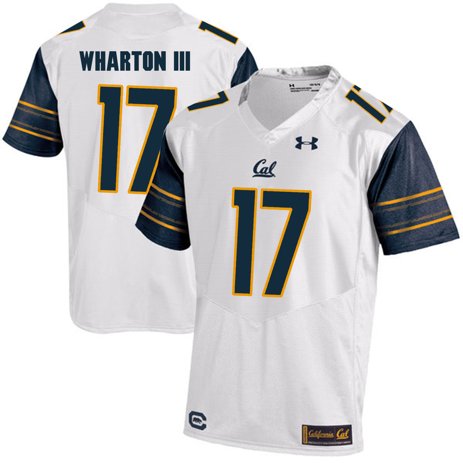 California Golden Bears 17 Vic Wharton III White College Football Jersey