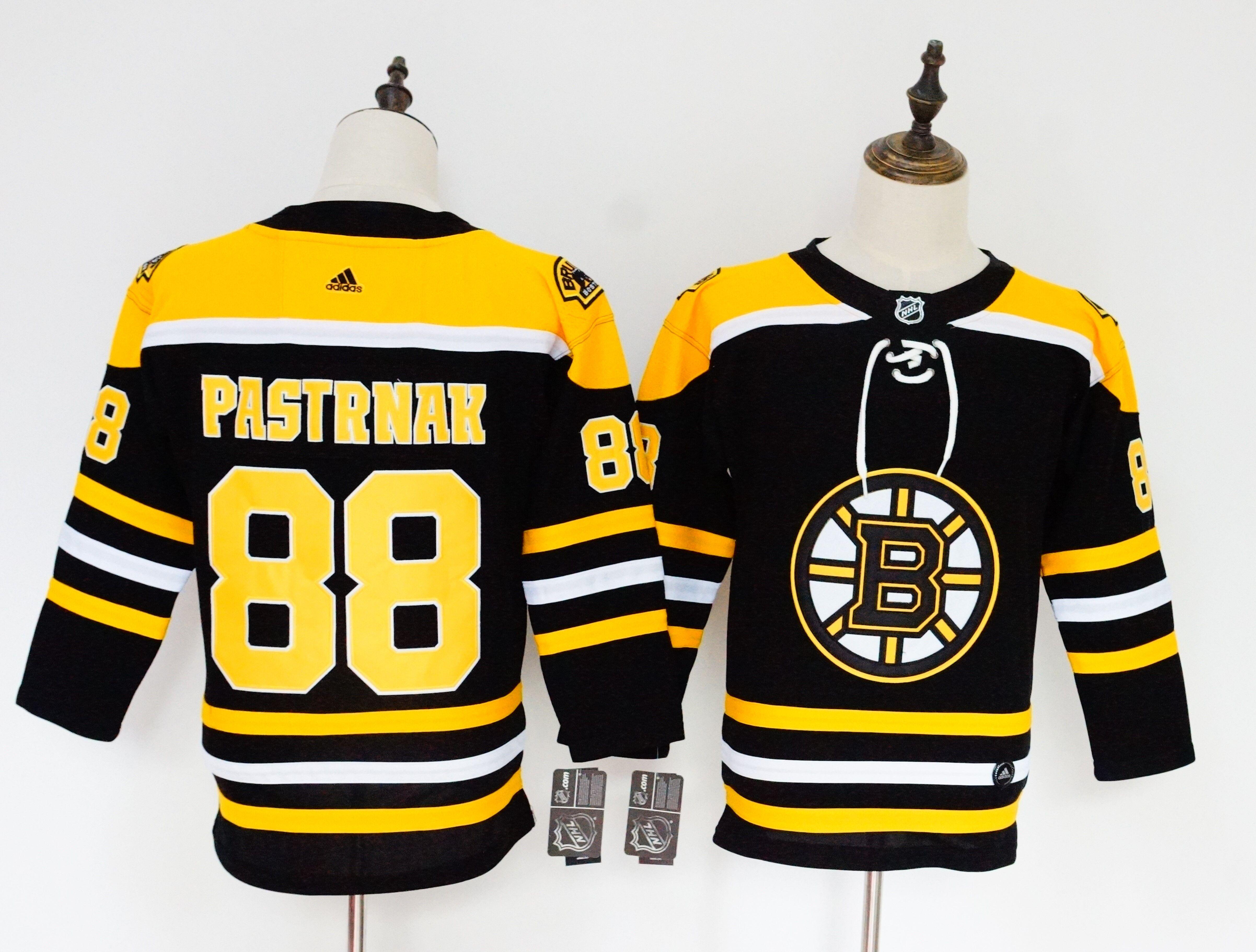 Bruins 88 David Pastrnak Black Youth Adidas Jersey
