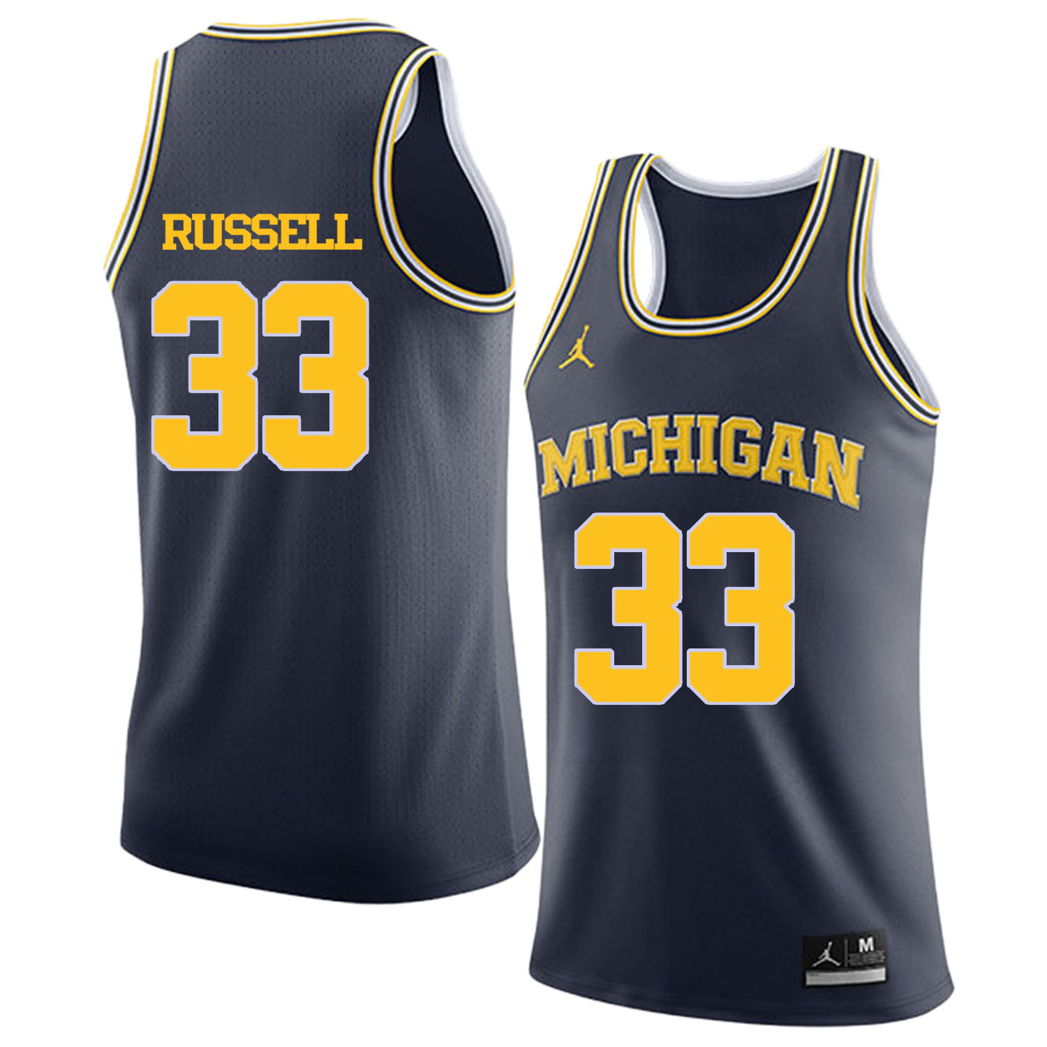 University of Michigan 33 Cazzie Russell Navy College Basketball Jersey