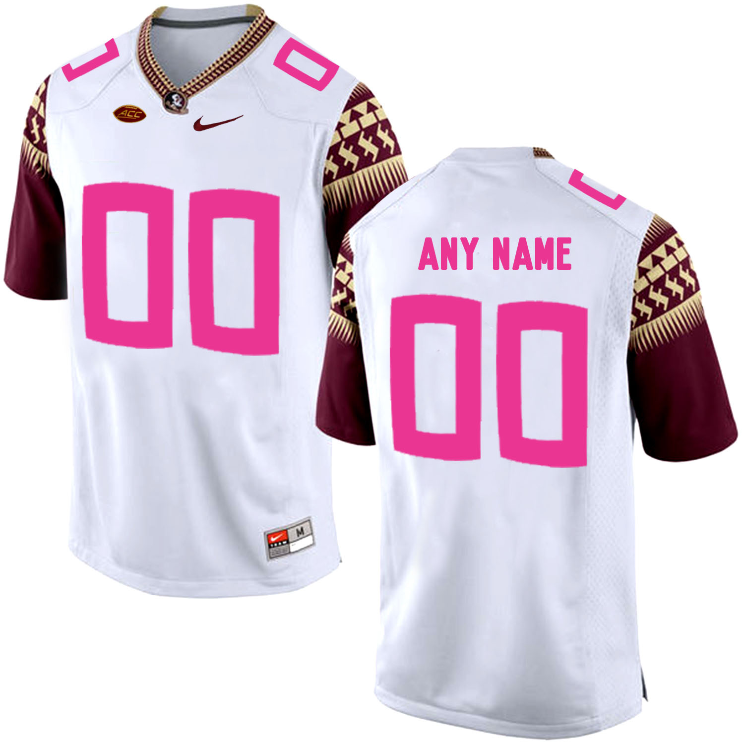 2ab0619d20b Florida State Seminoles White Men's Customized 2018 Breast Cancer Awareness College  Football Jersey