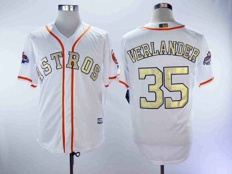 Astros 35 Justin Verlander White 2018 Gold Program Cool Base Jersey