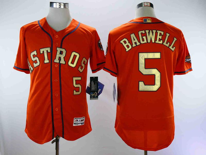 Astros 5 Jeff Bagwell Orange 2018 Gold Program Flexbase Jersey