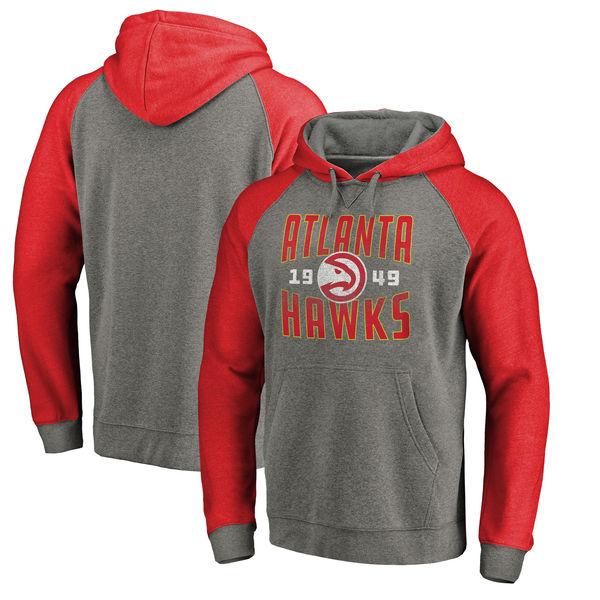 Atlanta Hawks Fanatics Branded Ash Antique Stack Tri Blend Raglan Pullover Hoodie