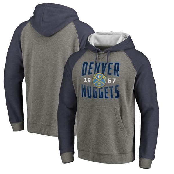 Denver Nuggets Fanatics Branded Ash Antique Stack Tri Blend Raglan Pullover Hoodie