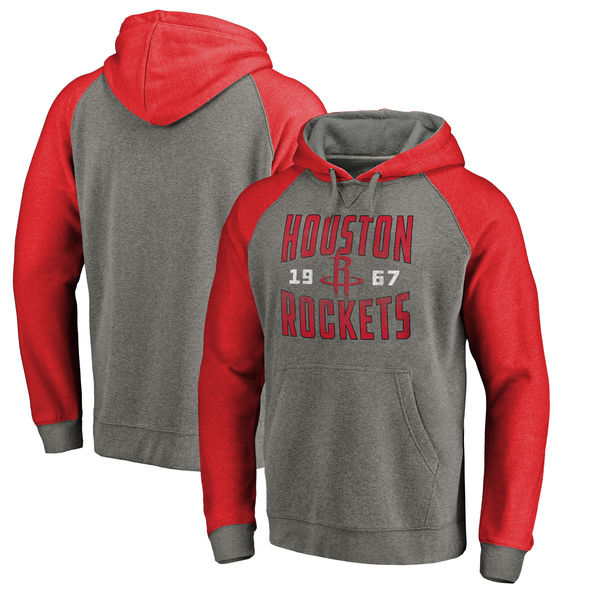 Houston Rockets Fanatics Branded Ash Antique Stack Tri Blend Raglan Pullover Hoodie