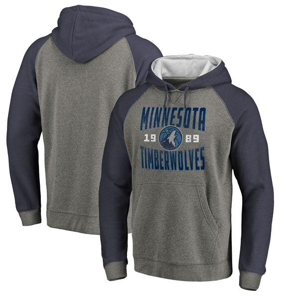Minnesota Timberwolves Fanatics Branded Ash Antique Stack Tri Blend Raglan Pullover Hoodie
