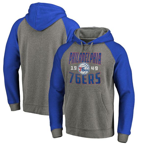 Philadelphia 76ers Fanatics Branded Ash Antique Stack Tri Blend Raglan Pullover Hoodie