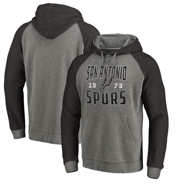San Antonio Spurs Fanatics Branded Ash Antique Stack Tri Blend Raglan Pullover Hoodie