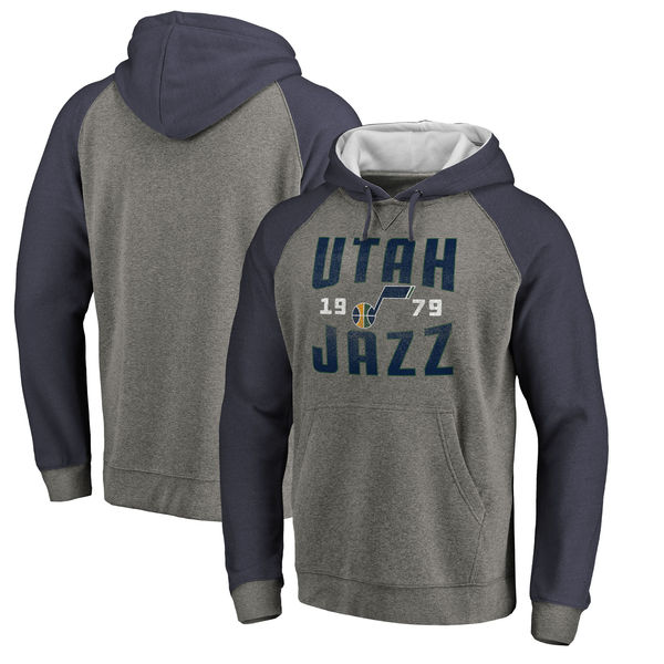 Utah Jazz Fanatics Branded Ash Antique Stack Tri Blend Raglan Pullover Hoodie