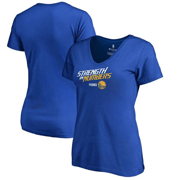 Golden State Warriors Fanatics Branded Women's 2018 NBA Playoffs Team Slogan Plus Size V Neck T-Shirt Royal