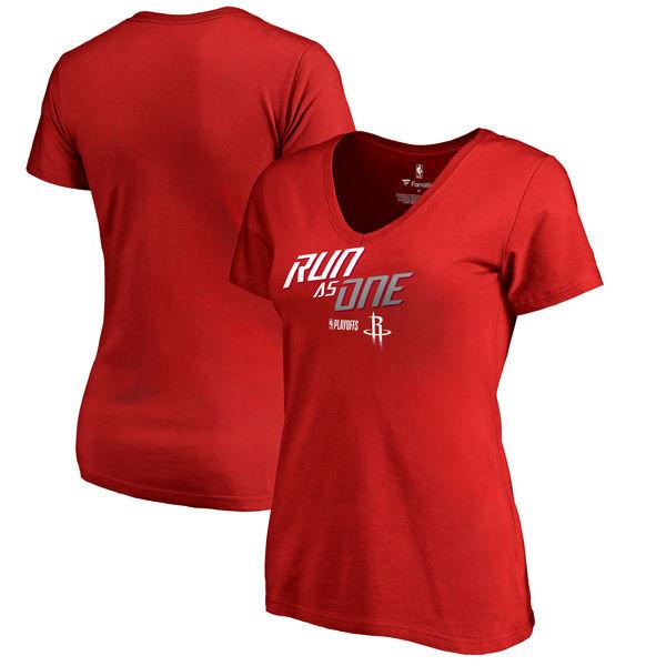 Houston Rockets Fanatics Branded Women's 2018 NBA Playoffs Slogan V Neck T-Shirt Red