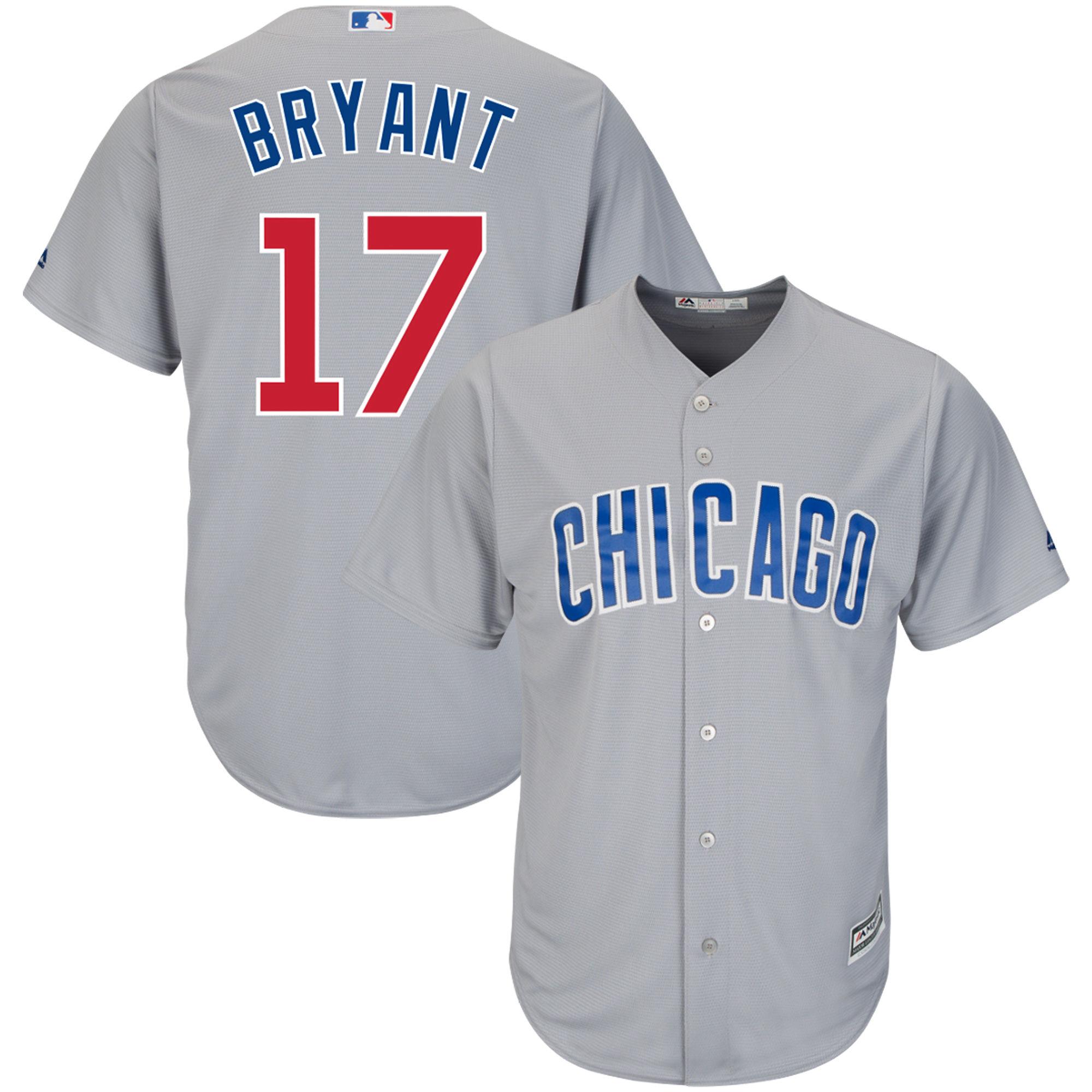 Cubs 17 Kris Bryant Gray Cool Base Jersey