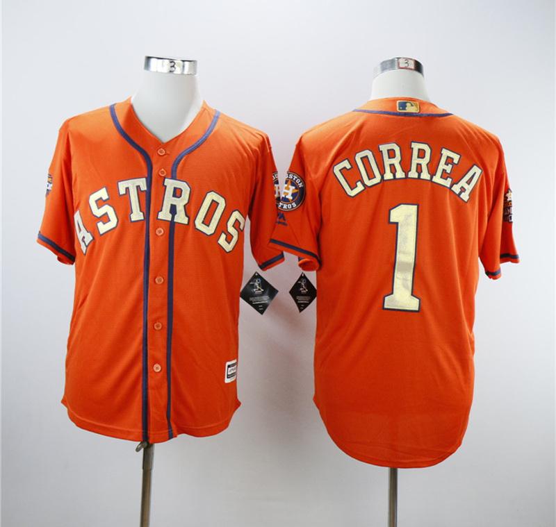 Astros 1 Carlos Correa Orange 2018 Gold Program Cool Base Jersey