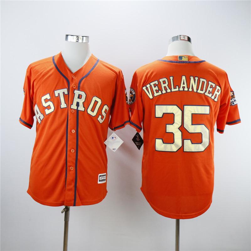 Astros 35 Justin Verlander Orange 2018 Gold Program Cool Base Jersey