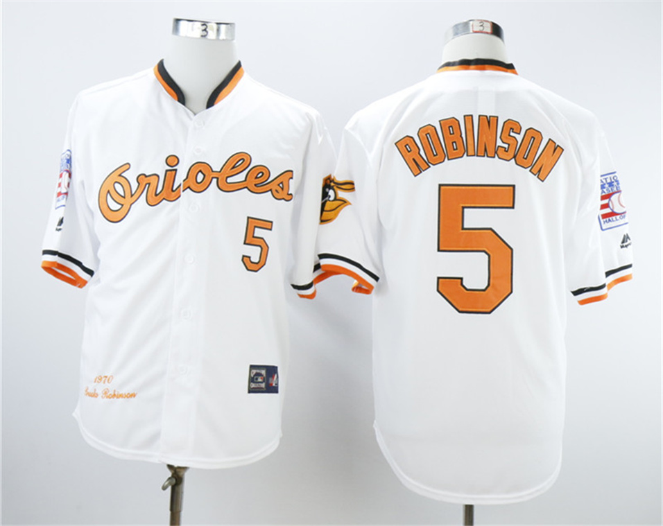 Orioles 5 Brooks Robinson White 1970 Throwback Jersey