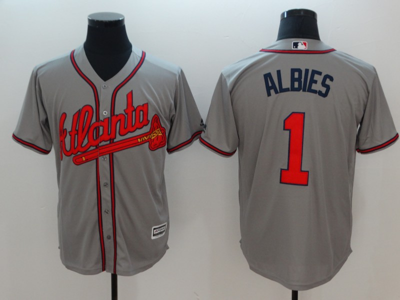Braves 1 Ozzie Albies Gray Cool Base Jersey