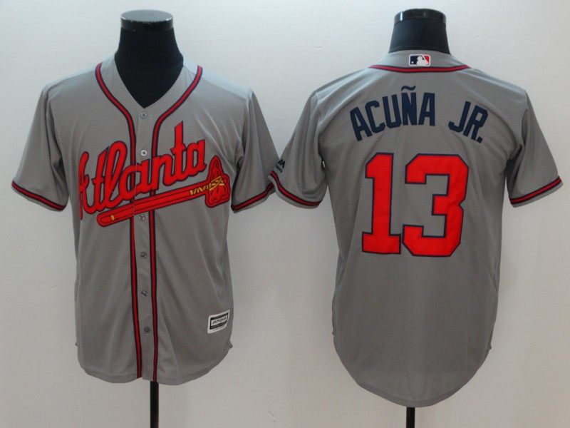 Braves 13 Ronald Acuna Jr. Gray Cool Base Jersey