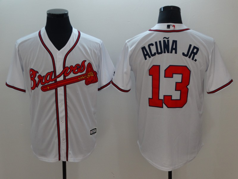 Braves 13 Ronald Acuna Jr. White Cool Base Jersey