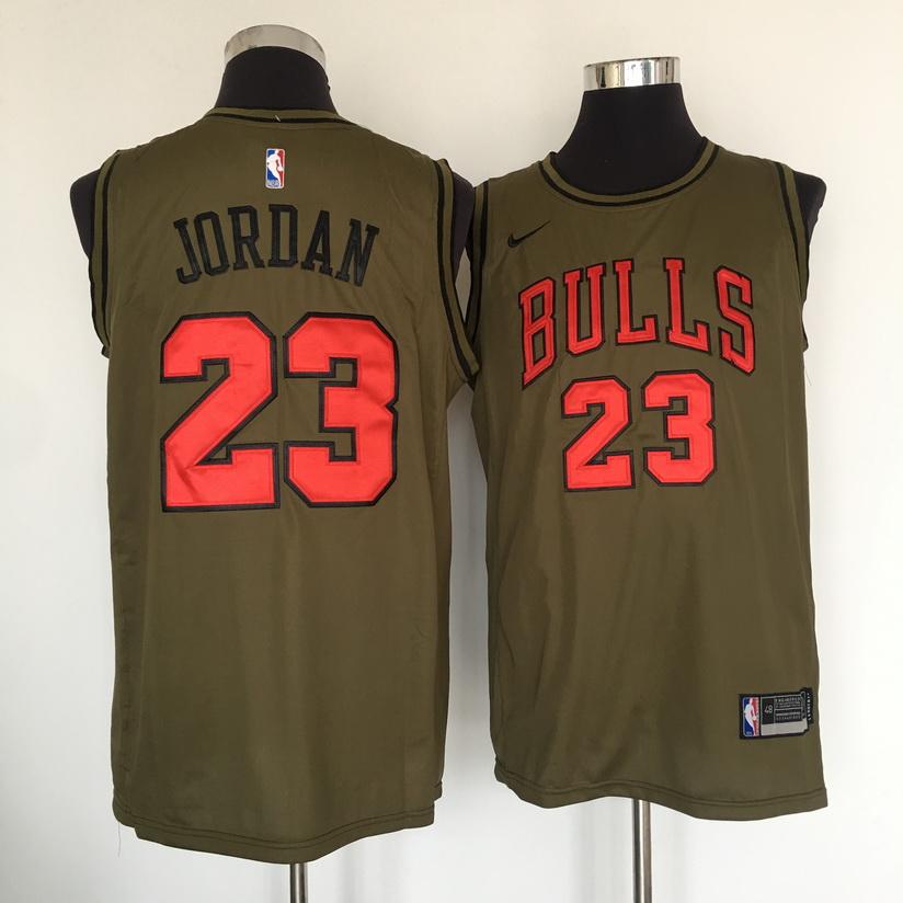 Bulls 23 Michael Jordan Olive Nike Swingman Jersey