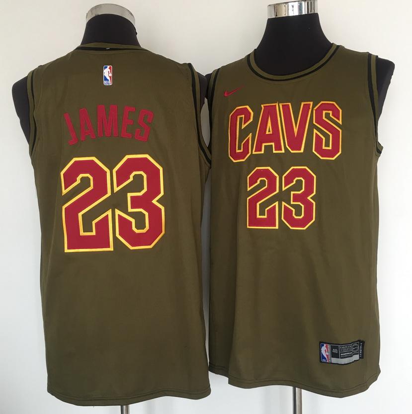 Cavaliers 23 Lebron James Olive Nike Swingman Jersey