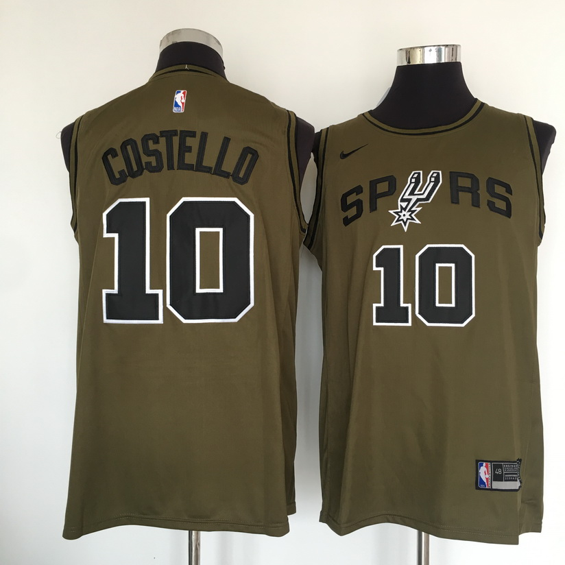 Spurs 10 Matt Costello Olive Nike Swingman Jersey