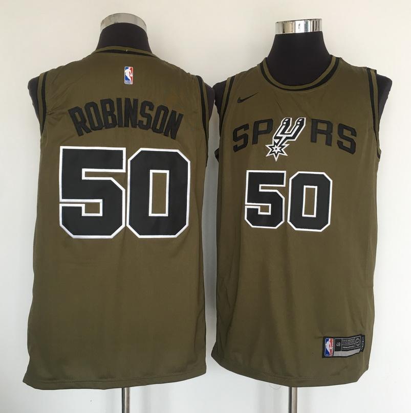 Spurs 50 David Robinson Olive Nike Swingman Jersey