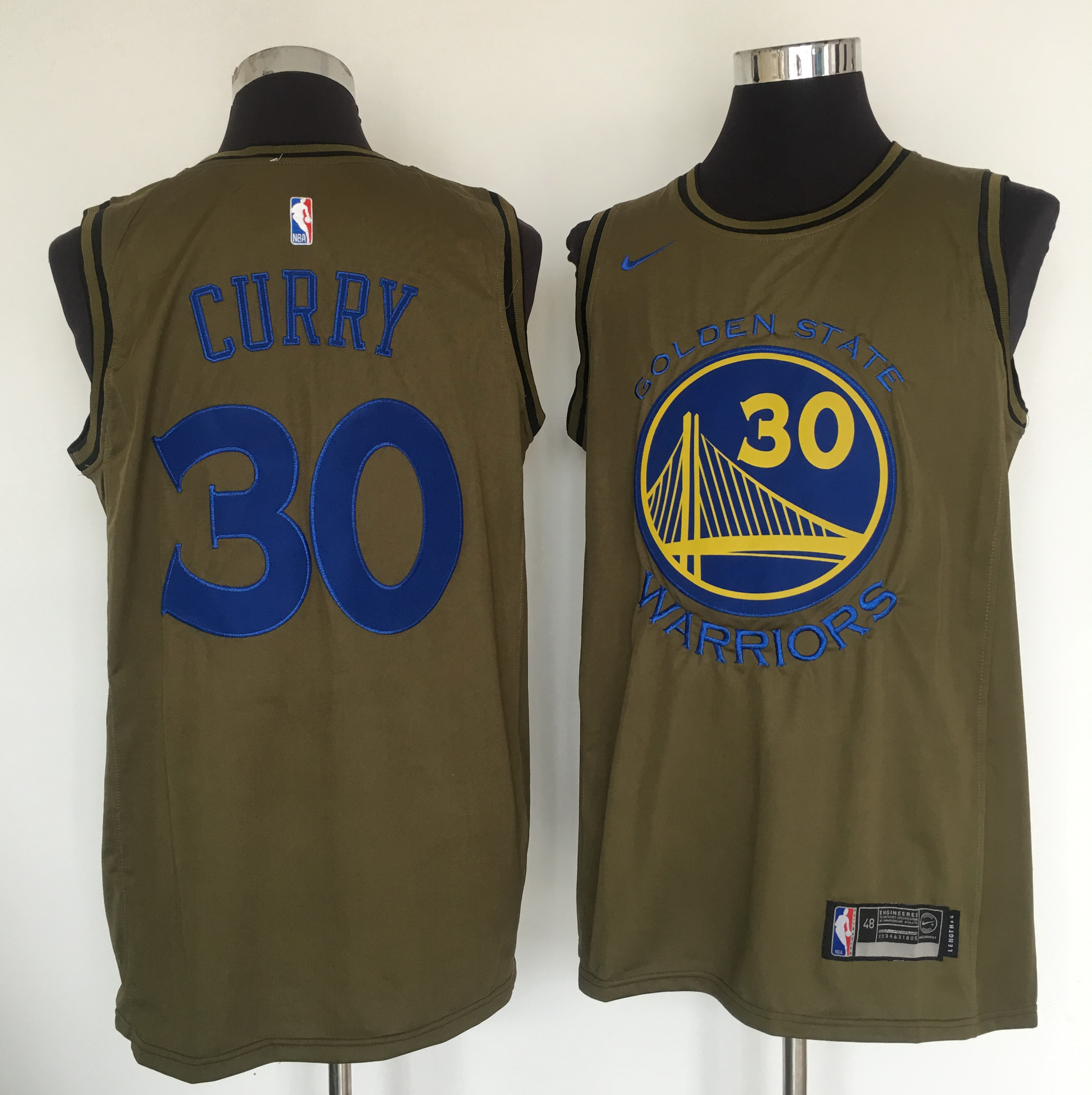 a6dbcbaf6d3 Warriors 30 Stephen Curry Olive Nike Swingman Jersey