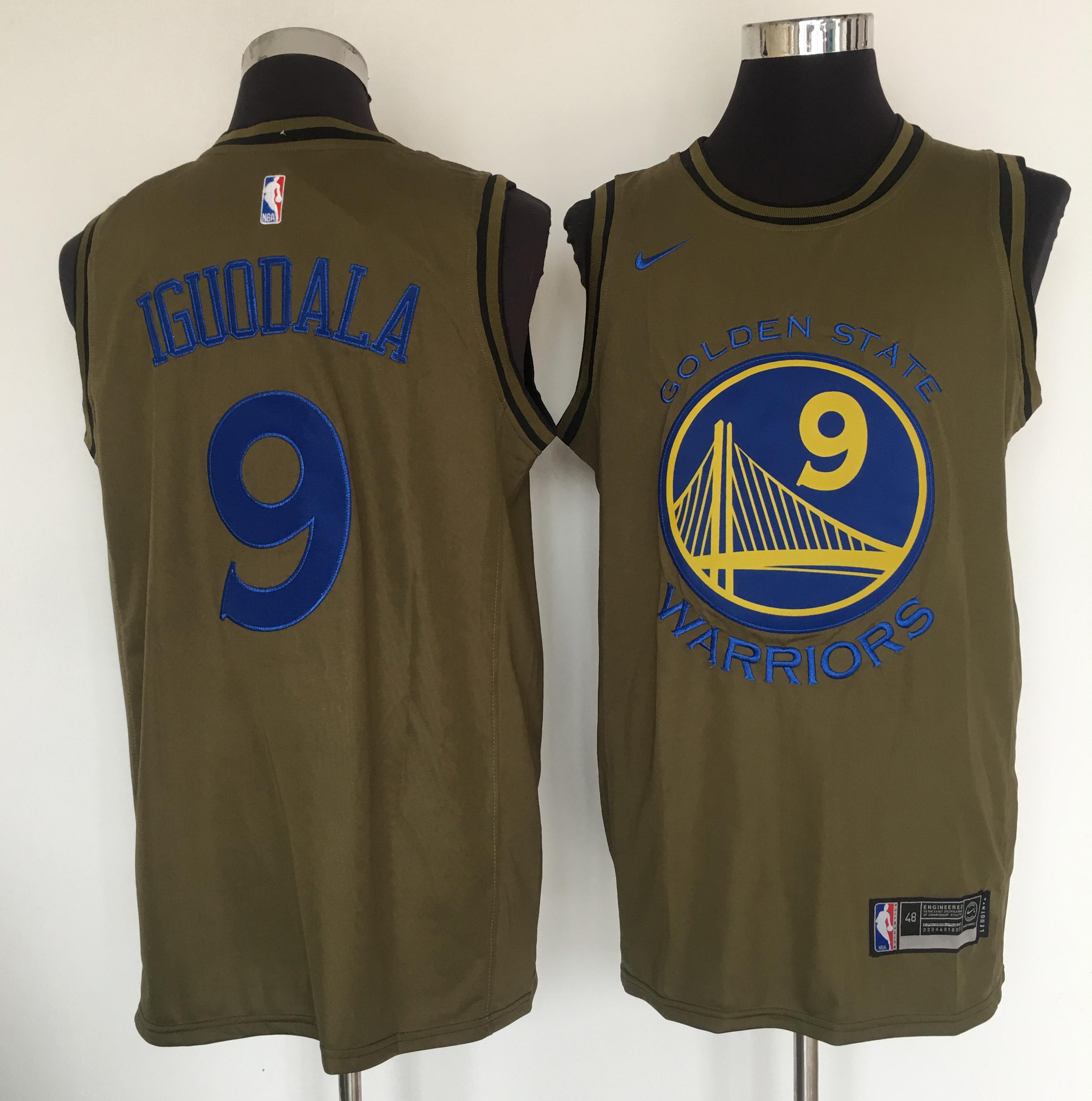 Warriors 9 Andre Iguodala Olive Nike Swingman Jersey