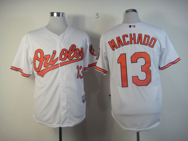 Orioles 13 Manny Machado White Cool Base Jersey