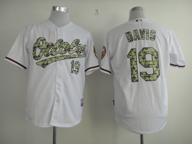 Orioles 19 Chris Davis White Camo Cool Base Jersey