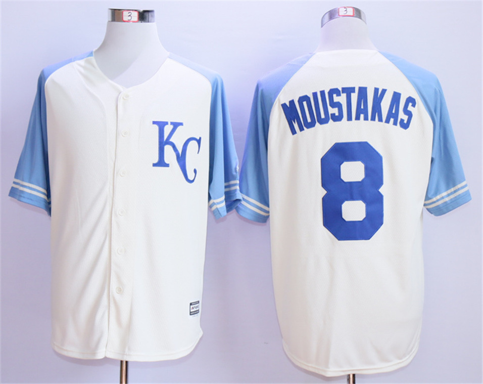 Royals 8 Mike Moustakas Cream Throwback Cool Base Jersey
