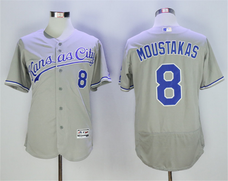 Royals 8 Mike Moustakas Gray Flexbase Jersey