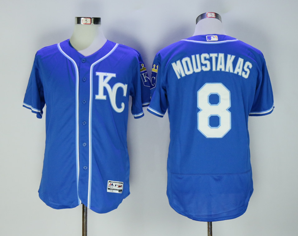 Royals 8 Mike Moustakas Royal Flexbase Jersey