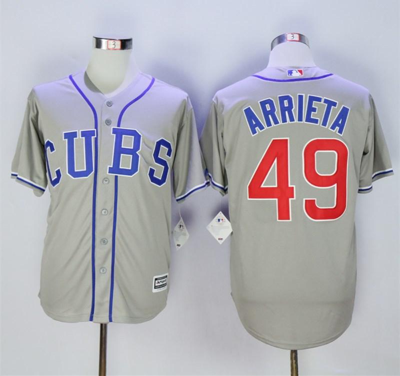 Cubs 49 Jake Arrieta Gray Cool Base Jersey